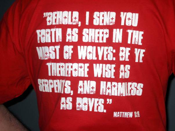 """T-shirt"" with ""Matthew 10:16"" imprinted on back"